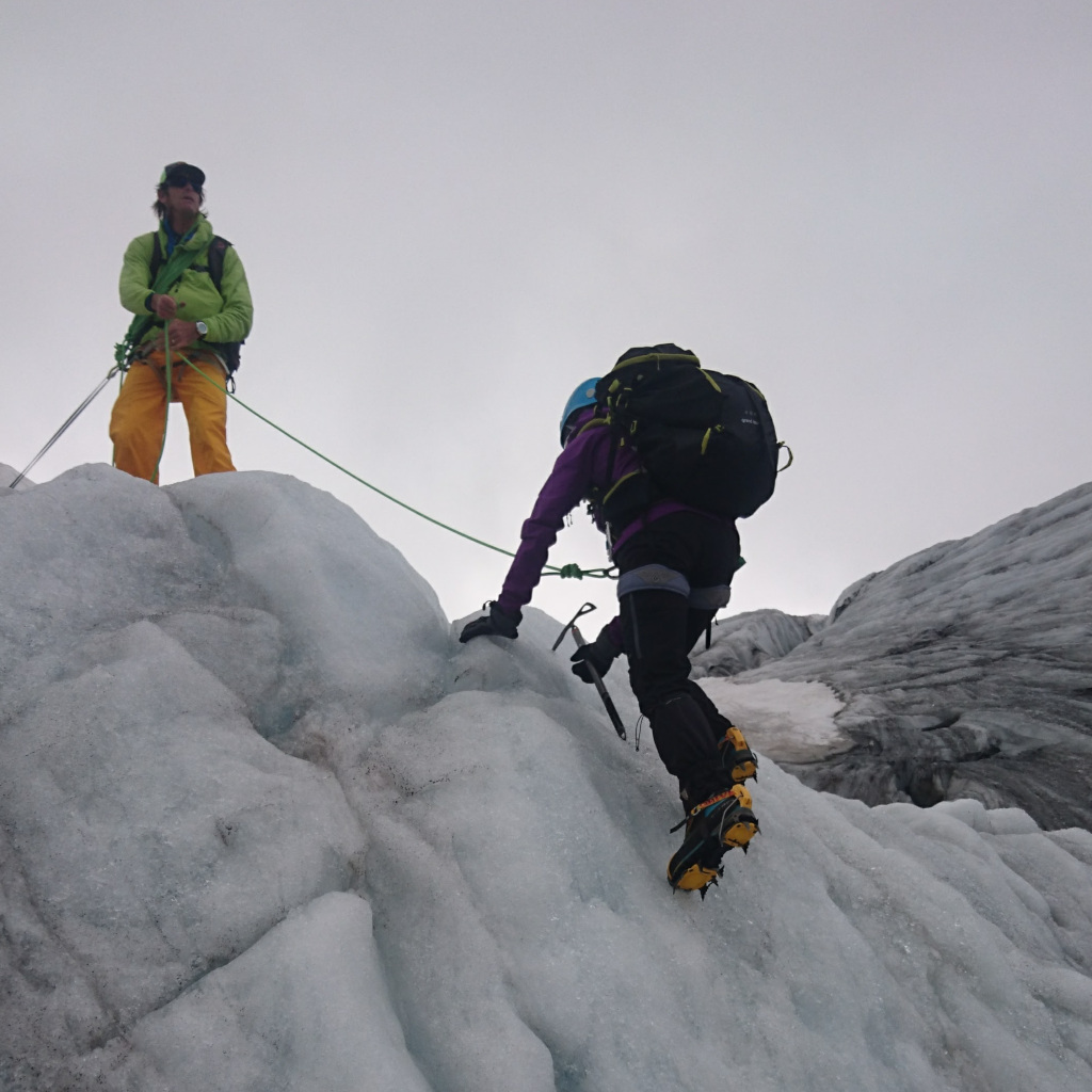 Gemma Scougal mini ice climbing and getting to grips with the crampons and ice axe with Simon Abrahams from Mont Blanc Guides