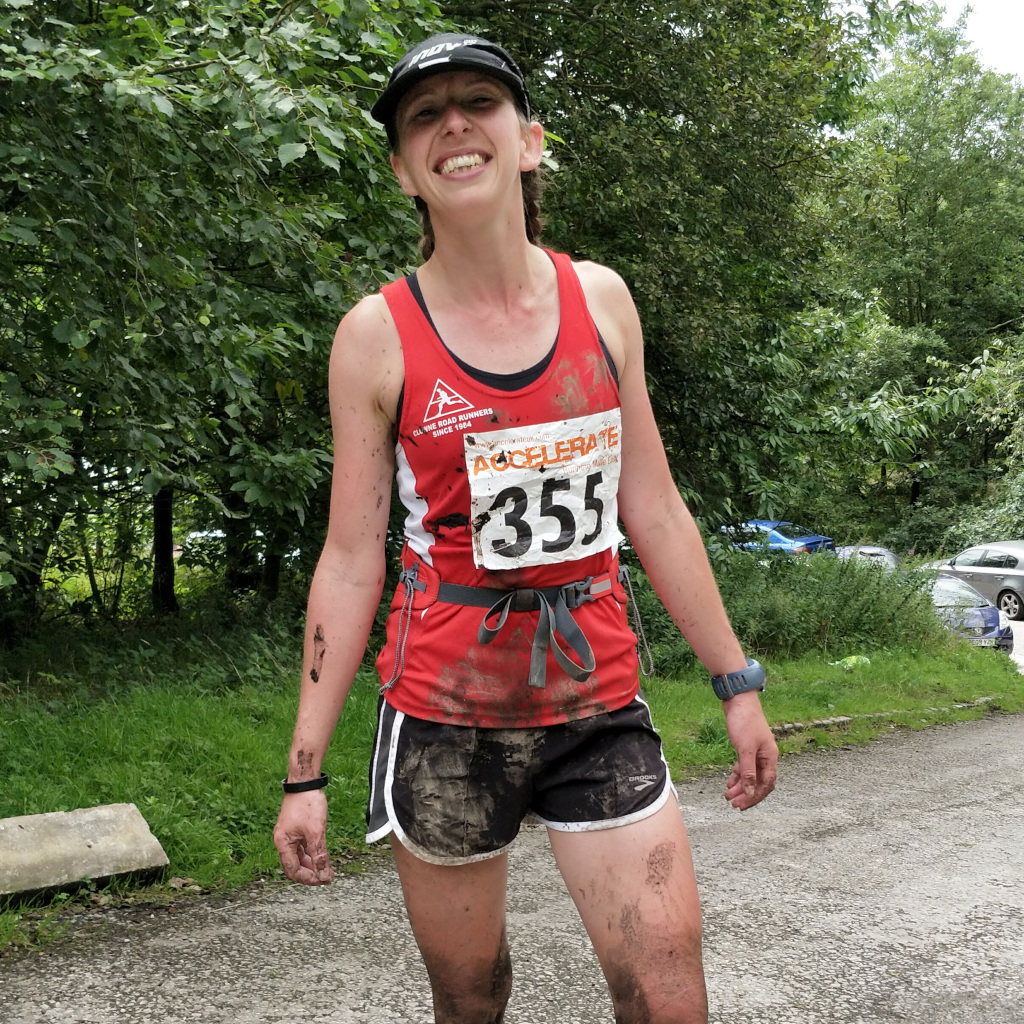 Gemma Scougal (Clowne Road Runners) at the end of Crowden Fell Race - muddy but fun.