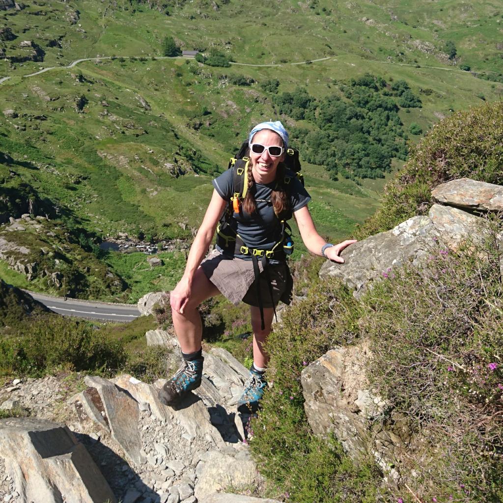 A sunny day in Wales as Gemma Scougal scrambles near Tryfan
