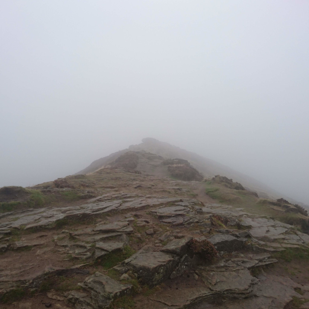 The summit of Win Hill hidden on the fog