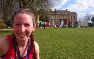 Gemma Scougal outside Normanby Hall, Scunthorpe after completing The Night of the Supermile