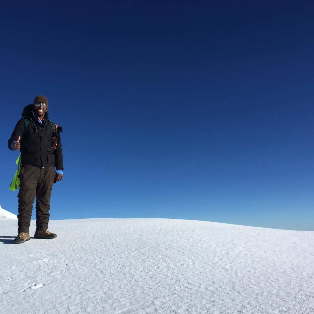 Selestini in the snow of Mount Kilimanjaro