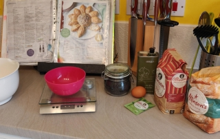 Ingredients ready for baking the flower bread