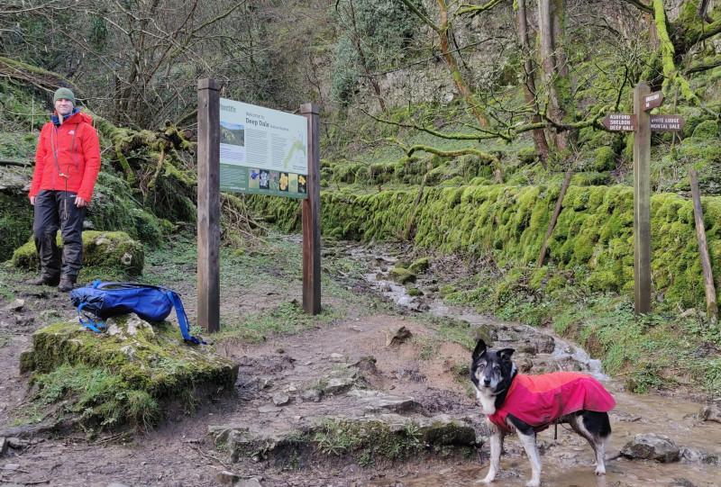 Guided walking on footpaths in Deep Dale Peak District