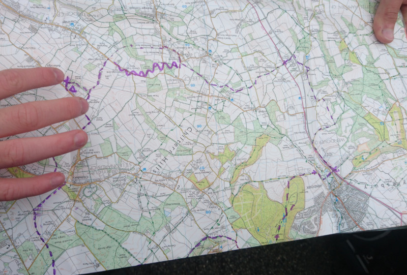Active map with route drawn on