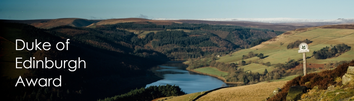 Image of Derwent Reservoir, Peak District with text Duke of Edinburgh Assessor
