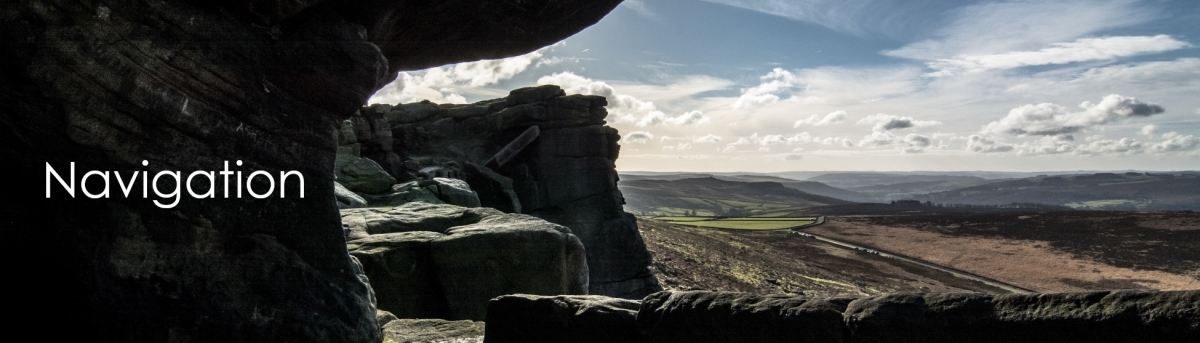 Image of Stanage Edge, Peak District with the text Navigation